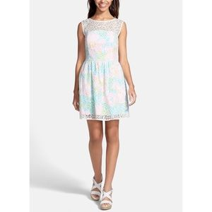 Lily Pulitzer 'Morrison' Lace Overlay Poplin Dress